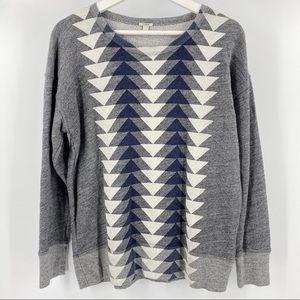 J. Crew tribal print crew neck sweatshirt